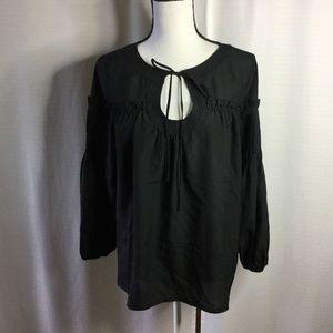 ROSE & OLIVE Black Long Sleeve Blouse w/ peephole